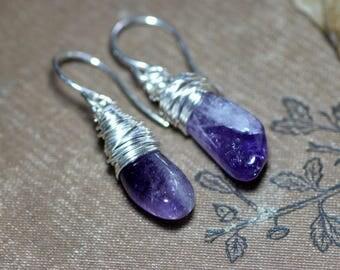 Amethyst Earrings ~ Purple Gemstone Earrings ~ Sterling Silver Wire Wrapped Rustic Jewelry
