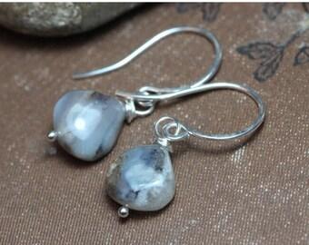 SALE Opal Earrings Smoke Gray Light Blue Earrings Sterling Silver Peruvian Opal Rustic Jewelry