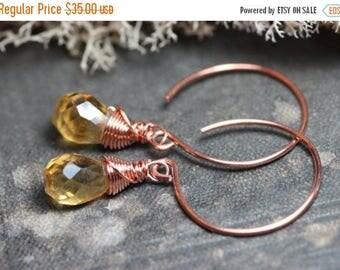 SALE Citrine Earrings Yellow Gemstone Earrings Copper Hoop Wire Wrapped Briolette