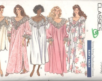 Butterick 4482 1980s Misses Romantic Nightgown and Caftan Pattern Easy Classic Womens Vintage  Sewing Pattern Size XS S M Bust 30 - 36
