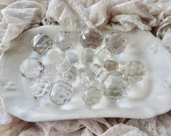 Vintage Lovely Old Lot Of Clear Cut Crystal Decanter Tops