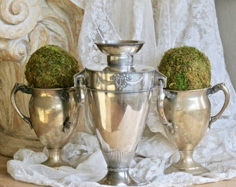 Shabby Chic Vintage Lovely......Silver Plate Barbola Swag Vase