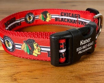 1 Inch Wide Chicago Blackhawks Personalized ID Dog Collar You Pick Size with Plastic or Metal Buckle Engraved Made in USA