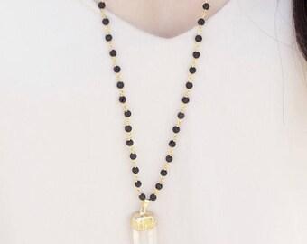 SUMMER SALE LAVA Rock diffuser jewelry for essential oils - Crystal quartz wire wrapped lava mala necklace