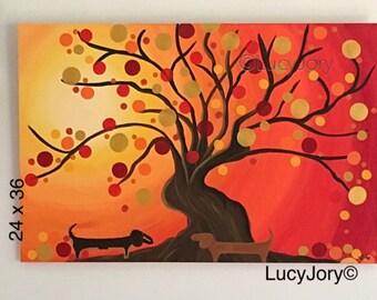 Dachshund Fall Autumn Art Acrylic Paint Canvas 36 x 24 inches Canvas
