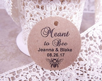 """Meant To Bee Tags - Circles 1.5"""" Wedding Favor Tags - Custom Wedding Tags - Vintage Tags - Gift Tags"""