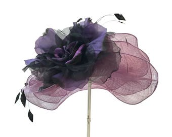 """Women's Kentucky Derby Hat, Sinamay Hat, Bridal Shower Hat, Downton Abby Inspired Hat in Lavender, Purple and Black - """"A Passion for Purple"""""""