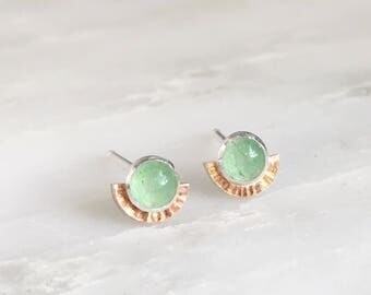 Aventurine 14k Rose Gold Filled halo stud earrings in sterling silver setting green and pink