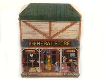 """Vintage Tin Box, """"General Store"""", made by the """"Tinsmith's Craft"""", Design by Elizabeth D. Greene"""