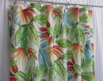 """Botanical Curtains, Large Leaf Print Drapes, Colorful Tropical Window Curtains, Bright Home Decor, Rod-Pocket, One Pair 50""""W"""