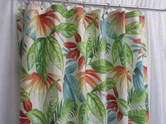 "Botanical Curtains, Large Leaf Print Drapes, Colorful Tropical Window Curtains, Bright Home Decor, Rod-Pocket, One Pair 50""W"