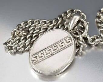 Antique Sterling Silver Locket | Victorian Locket Pendant | Oval Engraved Locket | Greek Key Photo Locket | Large Keepsake Love Locket