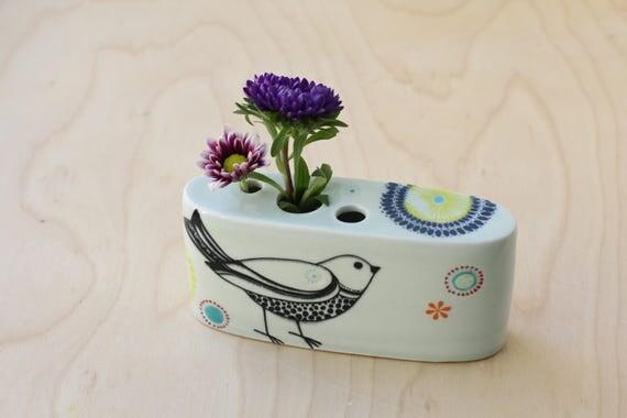 oval bird bud vase