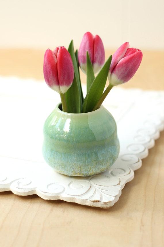 small bud vase //  aqua vase // handmade vase // boho decor // coastal vase