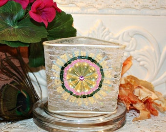 Embellished Soy Wax Candle,Vintage Lace,Czech Glass Cabochon,Beads,YOUR SCENT CHOICE,Homemade,Hand Poured,Gift Candle,Gifts for Her,Weddings