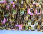 Vintage French Novelty Wool Net Lattice Fabric, Textured Brown Pink Green Open Weave Fabric, 2 Yards Designer Wool Net