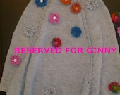 RESERVED FOR GINNY. Adult sized Knitted Poncho. Silver Gray. Multi-Colored Crocheted Flowers. Coordinating Poncho.