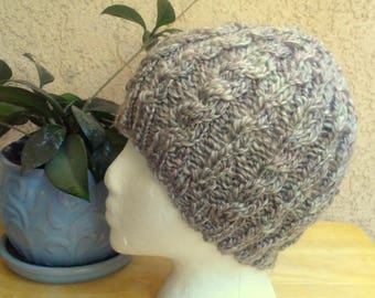 Handspun Knit Cable Beanie. Light Shiny Brown. Chocolate Mousse. Merino Wool and Tencel. Very Soft and Shiny Light Brown Wool Hat. Gift.