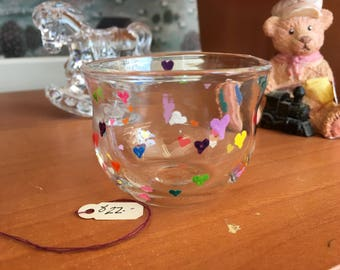 Blown Glass Bowl Hand Painted Hearts