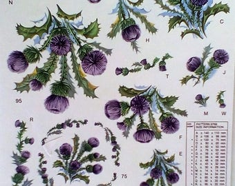 Thistle Floral Iron On Fabric Transfer