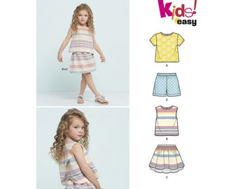 Child's Easy Top, Skirt and Shorts Sewing Pattern,  NewLook 6465 Sewing Pattern, US Sizes: 3 -4 -5 -6 -7 -8, UNCUT