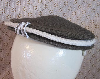 SALE Vintage Gage Pancake Hat Women's Gray and White Raffia Beaded Jeweled Classic High Fashion