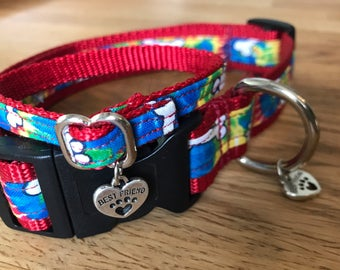 Best Friend Bracelet and Pet Collar Set in Groovy Tie Dye print with bines and paws on Red Webbing.