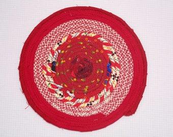"""Red Coiled Fabric Trivet - 7"""" - Reversible, Mat, Pad, Hot Pad, Handmade, Mug Rug, Coaster, Ready to Ship"""
