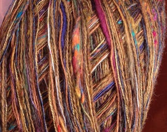 Yarn worsted dark brown wool, 100 yards French Morocco lambswool cashmere gold purple green blue Life's an Expedition yarn clearance sale