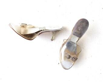 Vintage Springolator Shoes   1950s Mules   Lucite Heels   Size