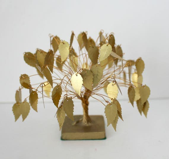 Vintage Tree with Gold Copper Leaves, Mid Century Metal Leaf Wire Tree