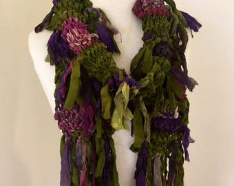 recycled silk chiffon  tattered scarf multicolor purple olive green