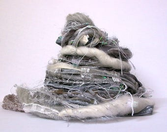 goodnight moon fringe effects™ 21yd specialty ribbons fibers art yarn bundle . gray grey white cream silver sparkle . yarn sample pack