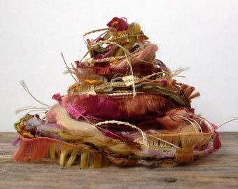 woodland nymph fiber effects™  12yds novelty art yarn bundle wool ribbon embellishment textile fiber art pack . berry green cream gold