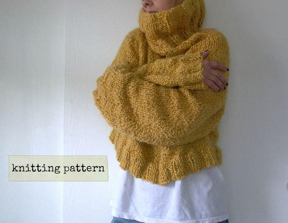 Easy Like Sunday. oversized sweater knitting pattern . cropped