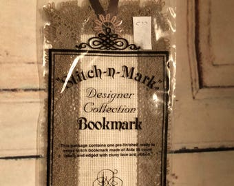 Jeanette Crews Designs Stitch-N-Mark Designer Collection Brown Ribbon And Lace Cross Stitch Bookmark