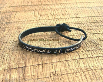 Attitude of Gratitude Leather Bracelet black silver positive inspirational spiritual saying phrase quote positivity inspiration