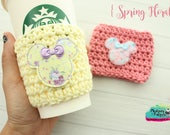 Crochet Coffee Sleeve { Spring Floral } pastel yellow, pink, spring easter cup cozy, knit mug sweater, starbucks gift, frappuccino holder