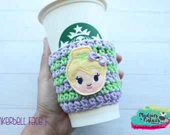 Neverland Coffee Cozy { Tinkerbell } Inspired fairy princess striped, reuseable cup sleeve cozie, tea sleeve, mug starbucks, water bottle