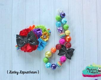 Rainbow necklace or baby headband { Lucky Leprechaun } 4 leaf clover, st patrick's day, pot of gold, irish cake smash photography prop