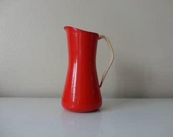 VINTAGE red DANSK enamelware PITCHER - ihq denmark - kobenstyle dansk
