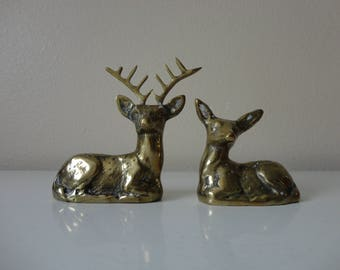 VINTAGE pair of rosenthal-netter BRASS DEER figurines