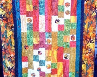Summer sale Fall in Love With Island Life, 46 x 64 quilted wallhanging, 2009