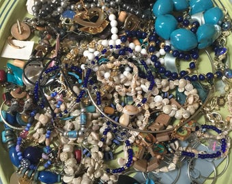Destash HARVEST LARGE Lot Vintage Jewelry Bits Pieces Creating Grab Bag, Junk Drawer, Treasures, Retro, brooches, earrings, Mixed Media