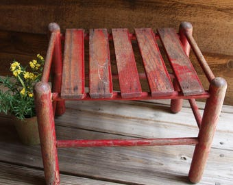 Vintage RED WOODEN STOOL- Rustic Plant Stand- Primitive Farmhouse Decor- Patio Porch Stool- Craft Show Riser Display