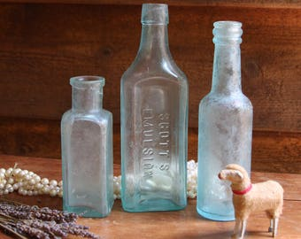 Seafoam Green Glass Antique BOTTLES (3) Instant Collection- Scott's Emulsion- Durkee's Challenge Sauce- Old Bottle- R16