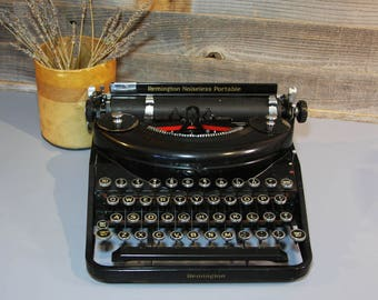 Antique Remington TYPEWRITER 1930's  Non-Working Manual Typewriter- Prop Industrial Vintage Office Decor- Noiseless Portable