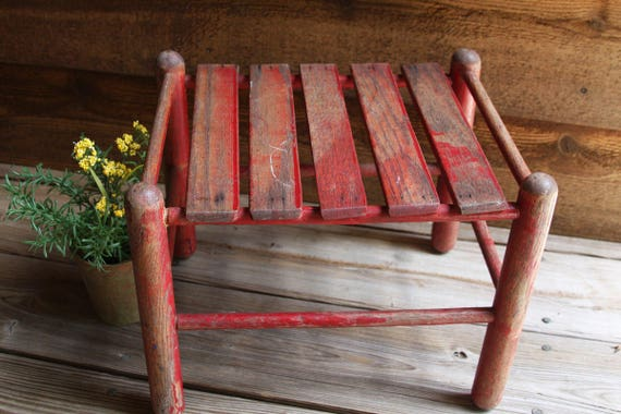 Like this item? & Vintage RED WOODEN STOOL Rustic Plant Stand Primitive islam-shia.org