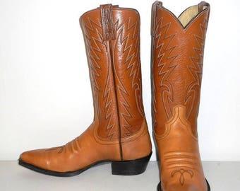 Mens 8.5 A Cowboy Boots Narrow Dan Post Vintage Country Western Tan Womens 9.5