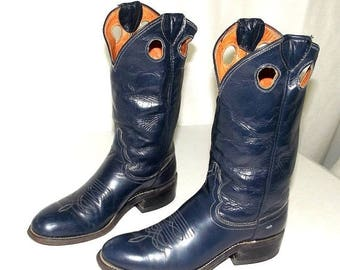 Vintage Justin Blue Leather Cowboy Boots size 5.5 A Narrow width
